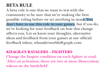 Beta rule, Khagra's Ravagers